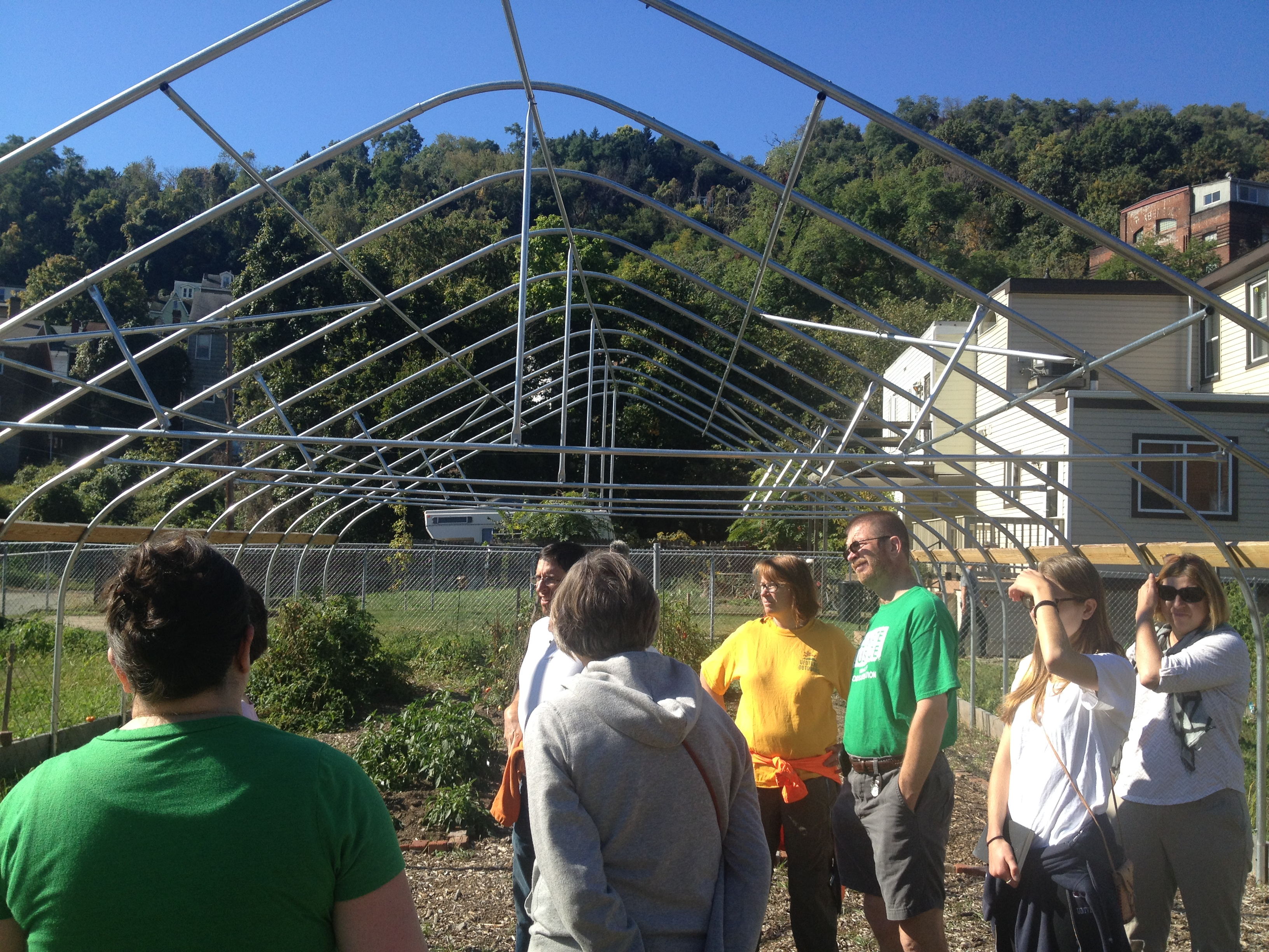 The beginnings of a greenhouse in the community gardens of Millvale.